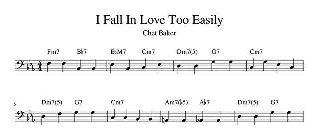 チェット・ベイカーの「I Fall in Love Too Easily」の冒頭部分